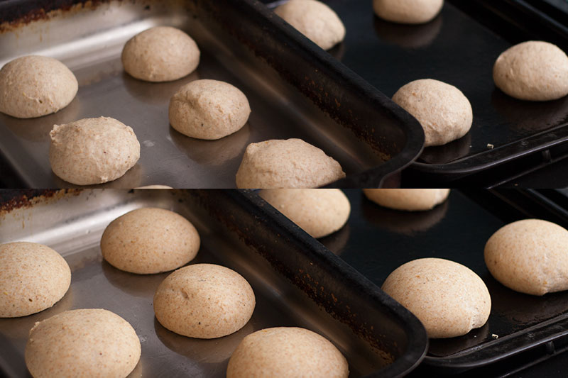 Spelt rolls before after proofing
