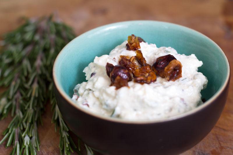 Feta hazelnut and rosemary crunch spread in a bowl