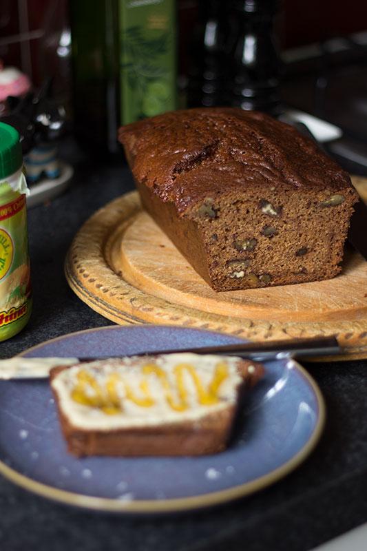 Spelt banana bread with tahini and honey - dairy free