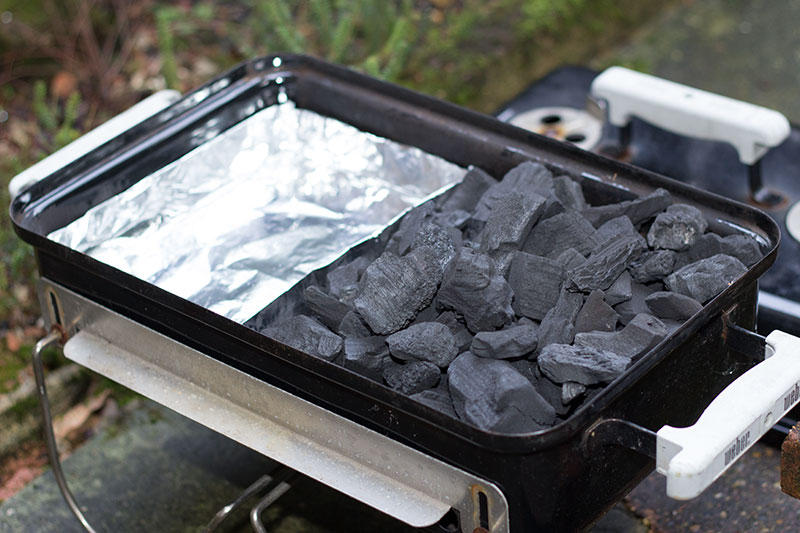 Foil tray for BBQ hot smoking in Weber Go-anywhere