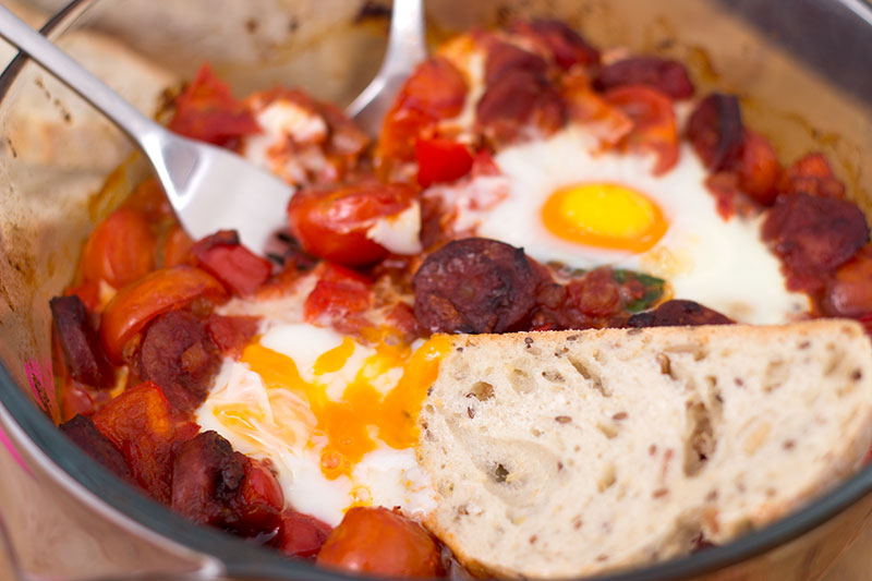 Chorizo, spinach and egg one-pot two-pot