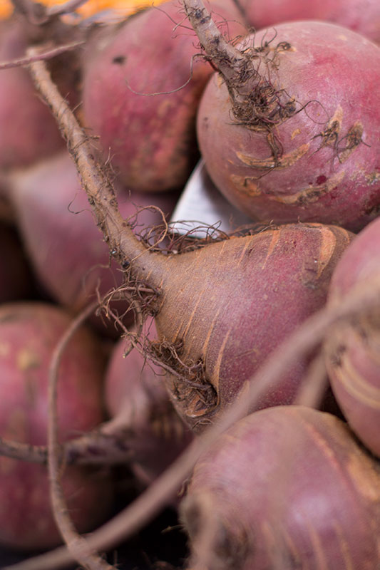 A pile or raw beetroots
