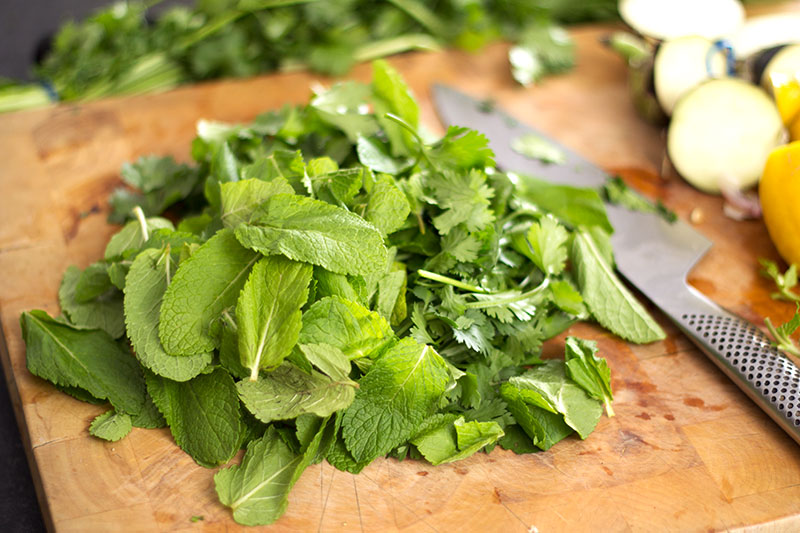 mint and coriander on chopping board