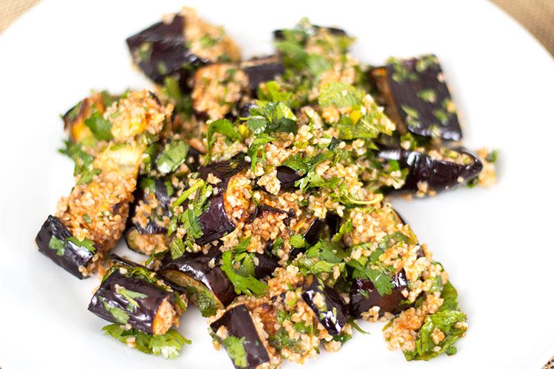 Harissa herb aubergine with bulgur