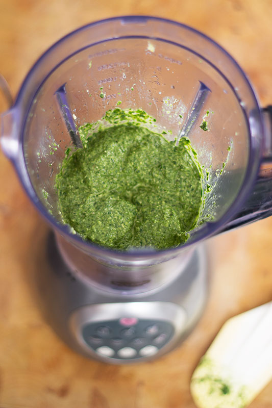 Spinach and walnut pesto in the blender