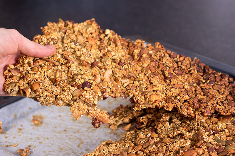 Tray of home made granola no added sugar