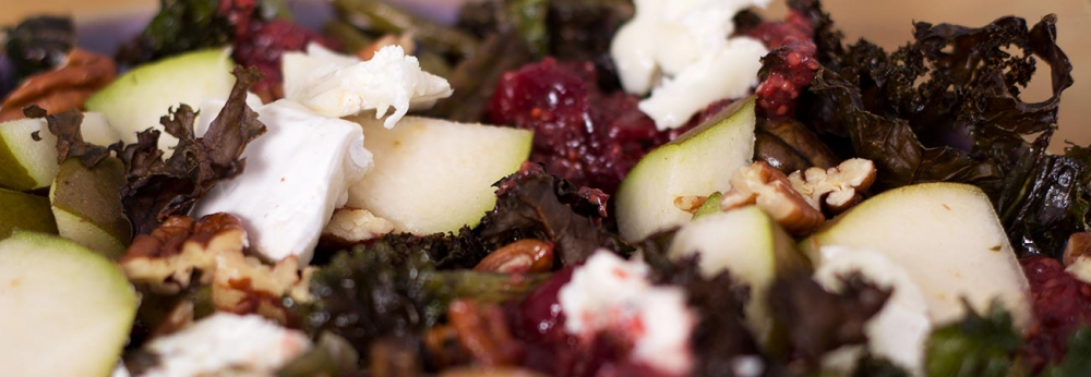 Kale, Goats Cheese and Pear salad with cranberry dressing