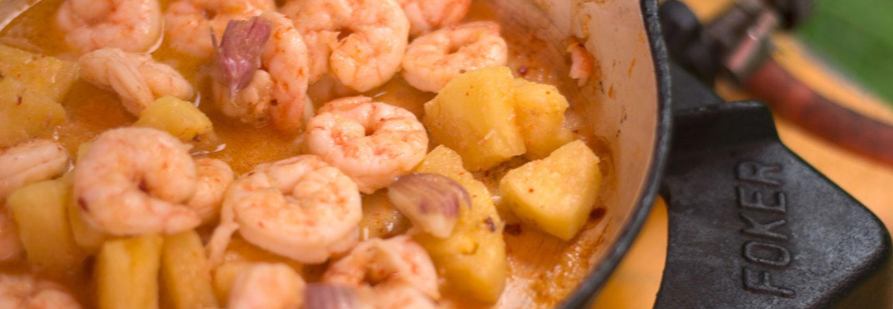 Prawns with pineapple chilli cooked on a camp stove