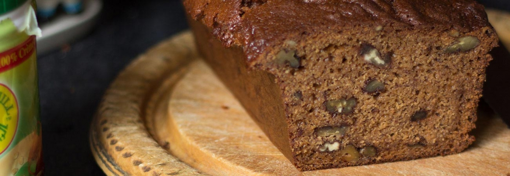 Spelt banana bread with tahini and honey dairy and low gluten