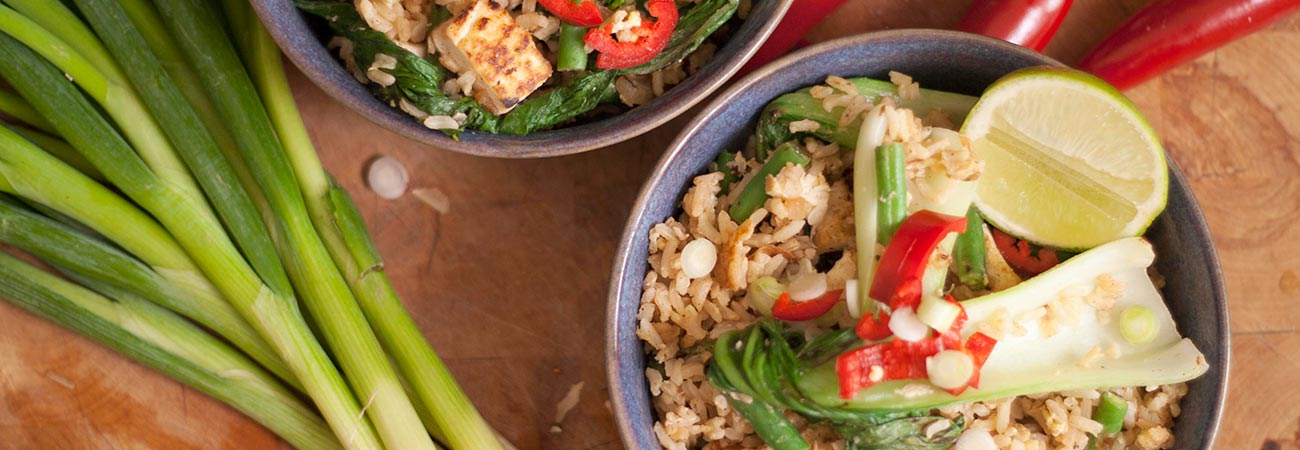 Thai fried rice with tofu beans pak choi lime and chilli