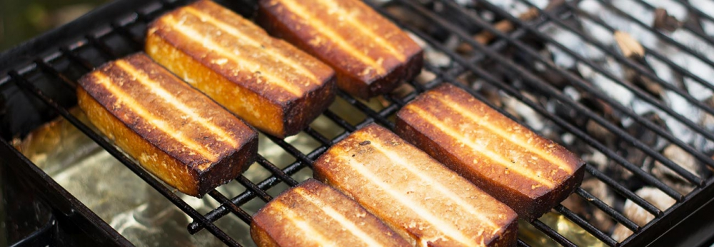 Hot smoked tofu BBQ on Weber Go Anywhere