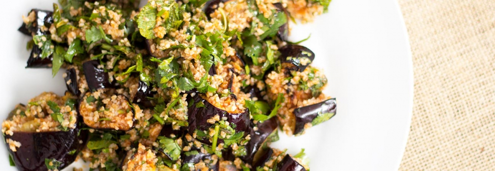 Harissa herb aubergine with bulgur