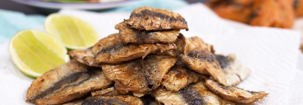 Pile of pan fried, spiced sprats