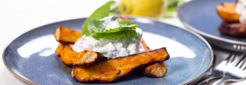 Paprika sweet potato wedges with feta mint yoghurt