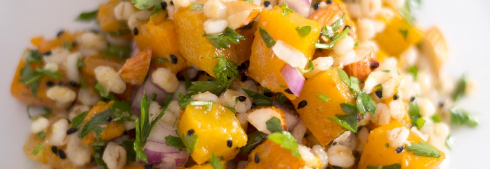 Zingy barley, squash and parsley salad