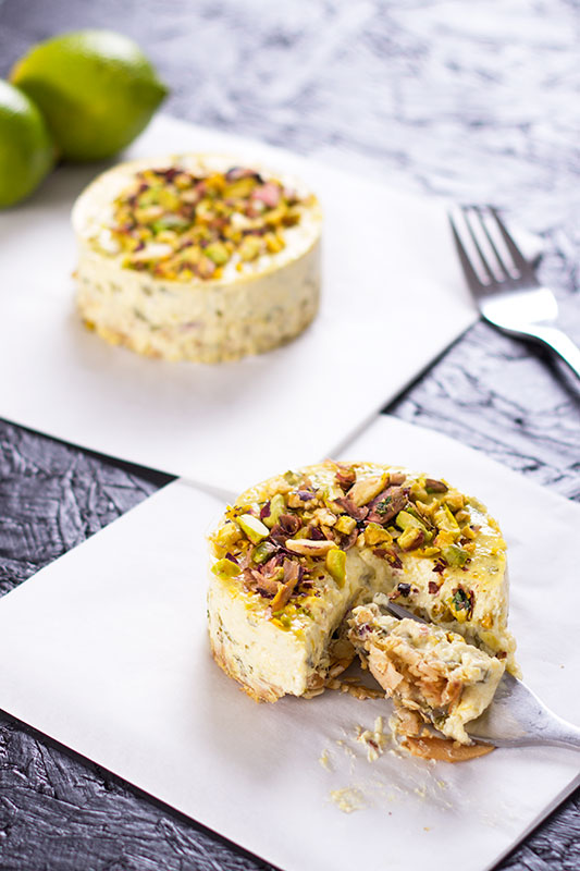 Labneh cheesecake with lime and coriander