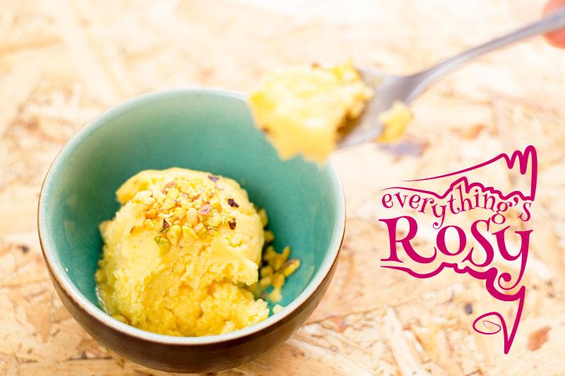 Mango frozen yoghurt with cardamon and rosewater
