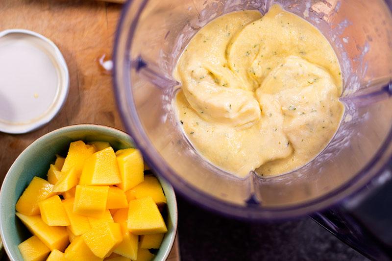 Mango frozen yoghurt in blender
