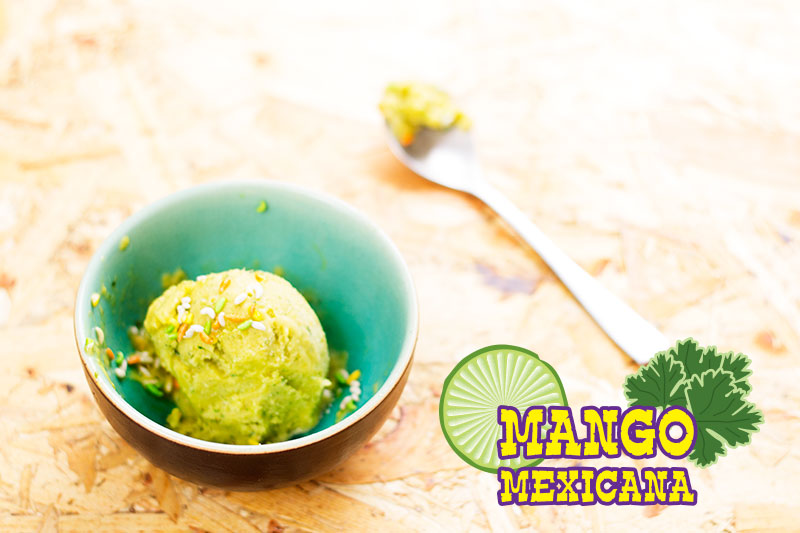 Mango frozen yoghurt with lime and coriander