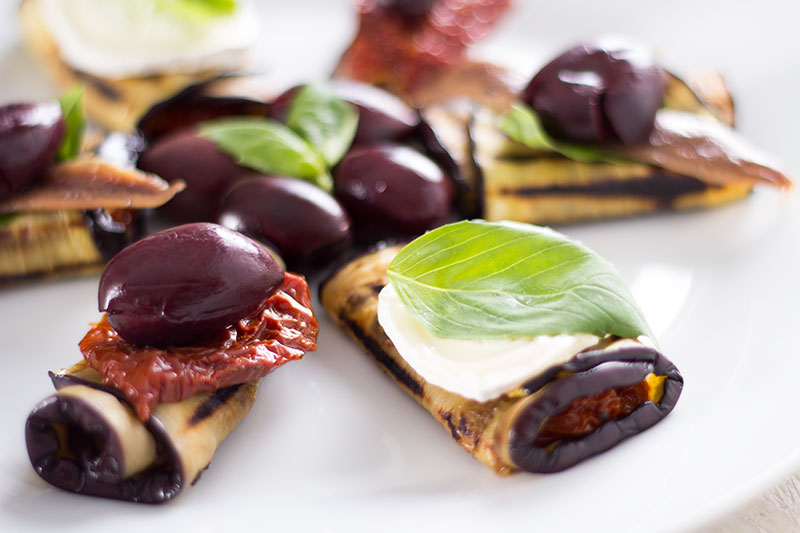 Goat's cheese, basil and sun dried tomato chargrilled aubergine rolls