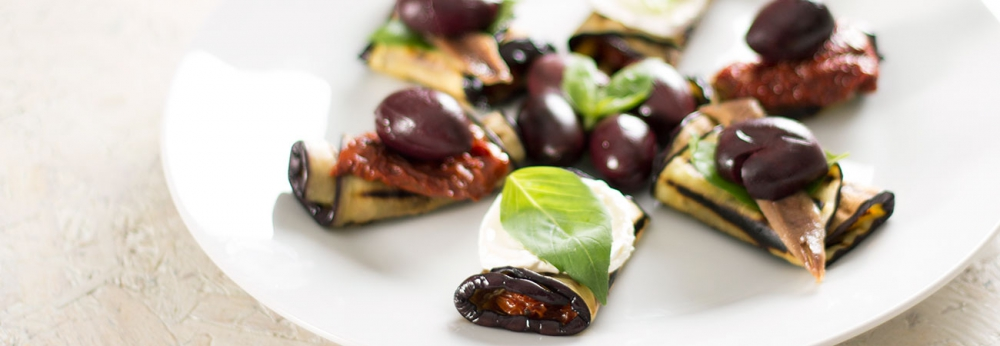 Chargrilled aubergine rolls
