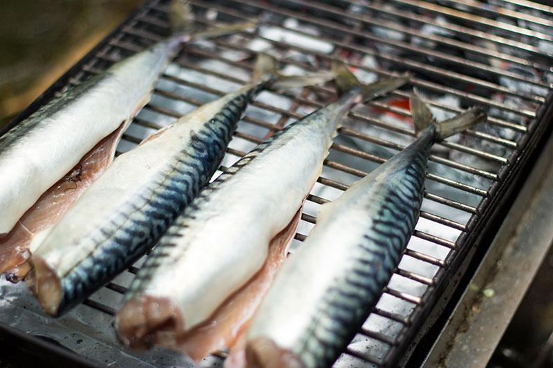 Whole mackerel on the BBQ ready to smoke