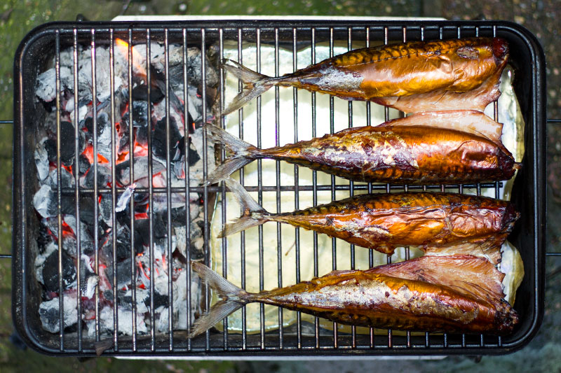Whole smoked mackerel on the BBQ