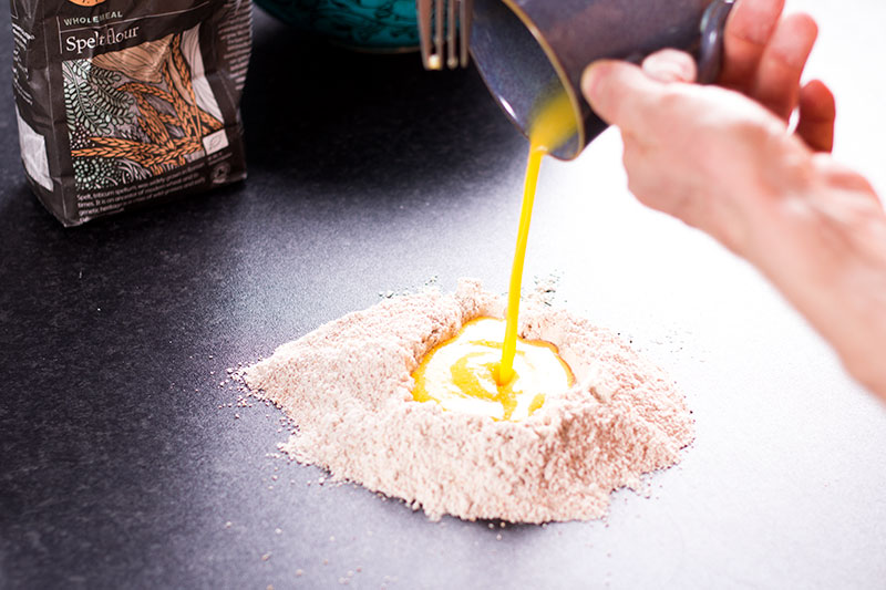 wholemeal spelt pasta being made