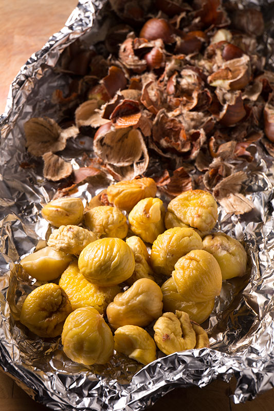 A tray of peeled sweet chestnuts