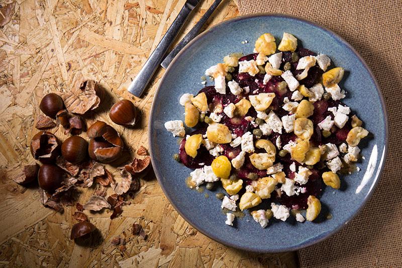 autumn beetroot and chestnut salad