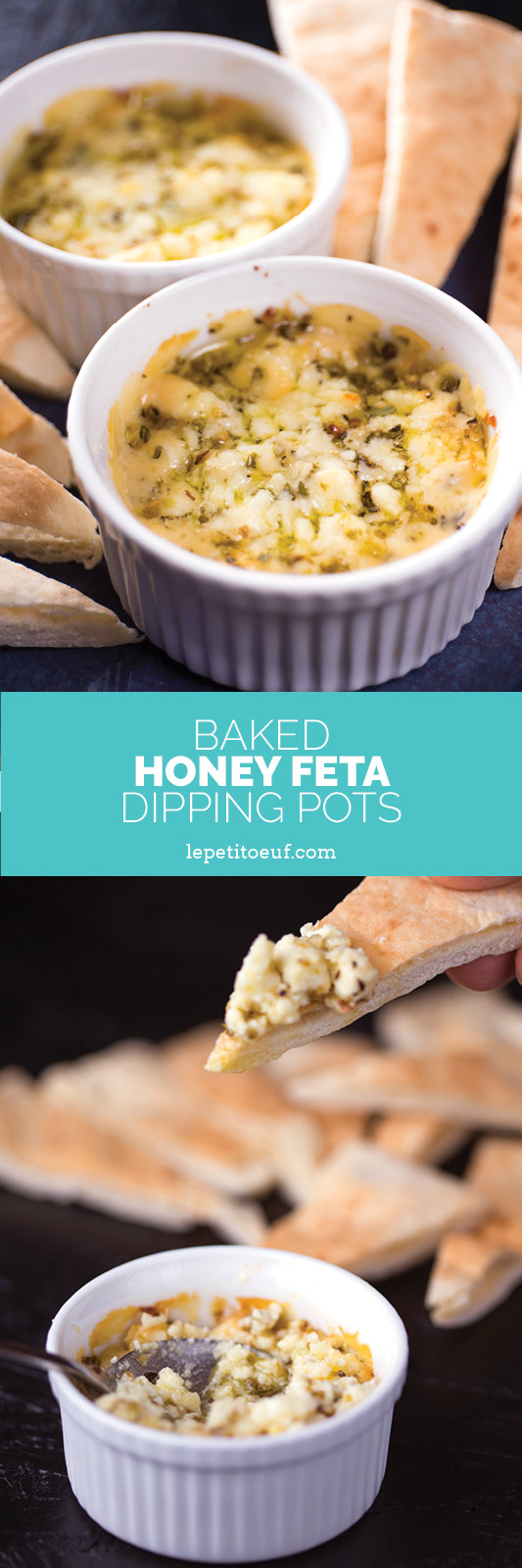 baked honey feta dipping pots