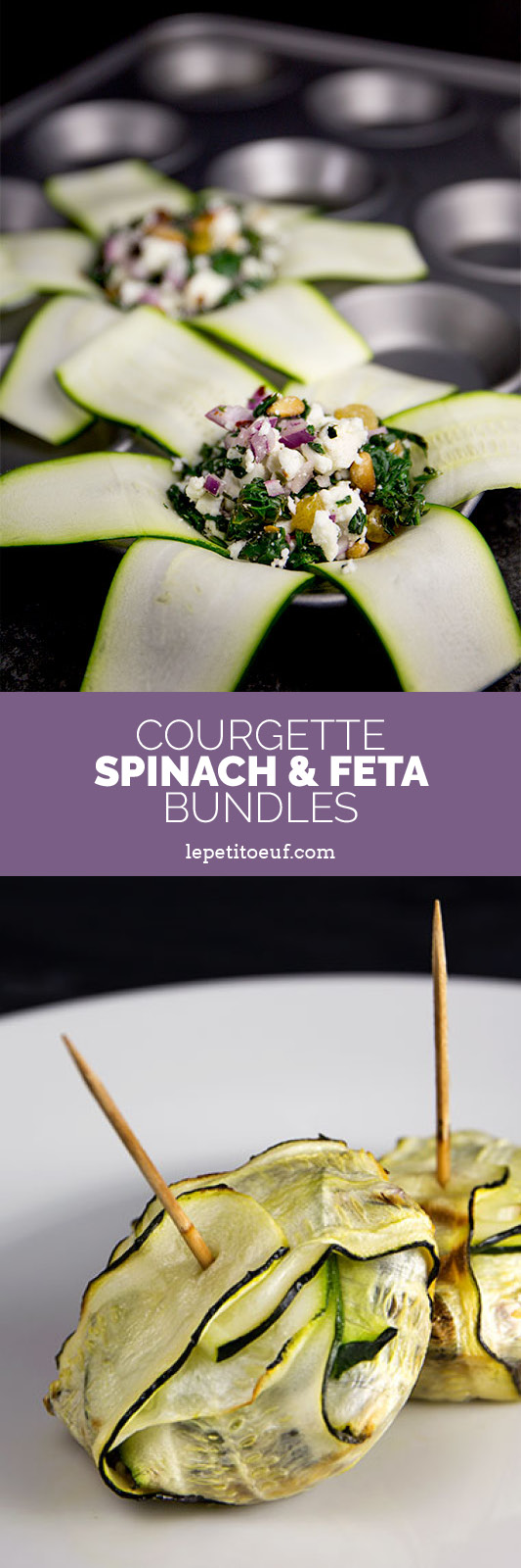 Courgette, spinach and feta bundles