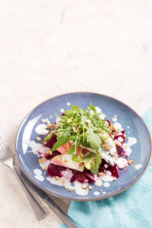 Mackerel with beetroot, apple and horseradish
