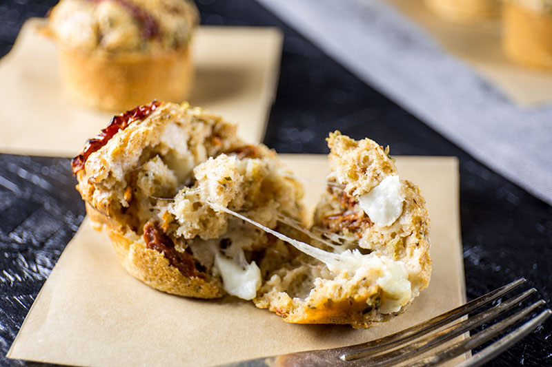 hot melt sun-dried tomato and mozzarella muffins