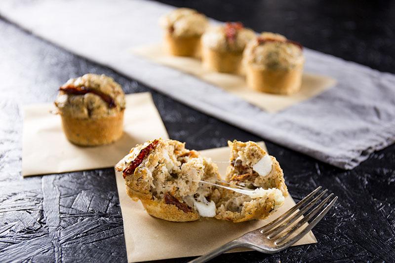 hot melt sun-dried tomato and mozzarella muffins