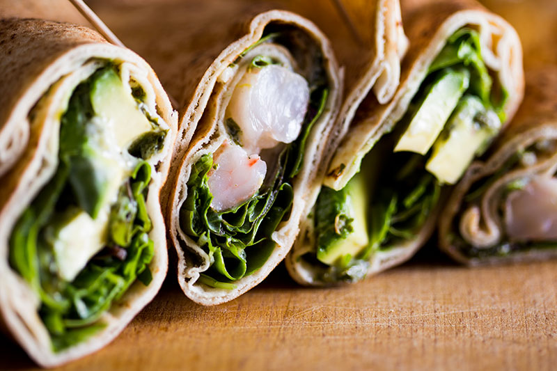 Avocado prawn khobez wraps with  mint yoghurt