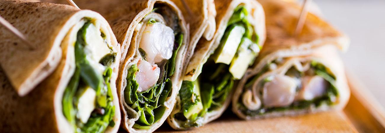 Avocado prawn khobez wraps with mint yoghurt