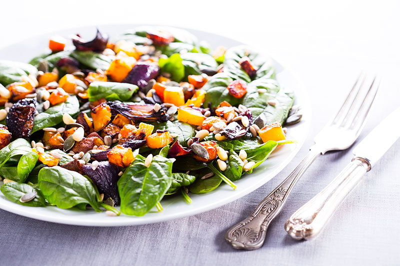 Charred roasted roots & spinach hot winter salad