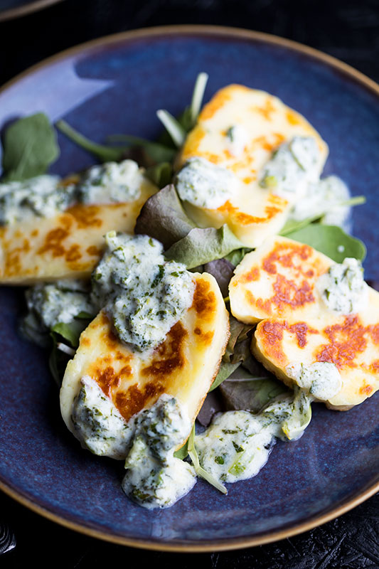 Halloumi with mint yoghurt