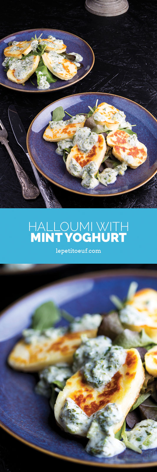 Grilled halloumi with mint yoghurt