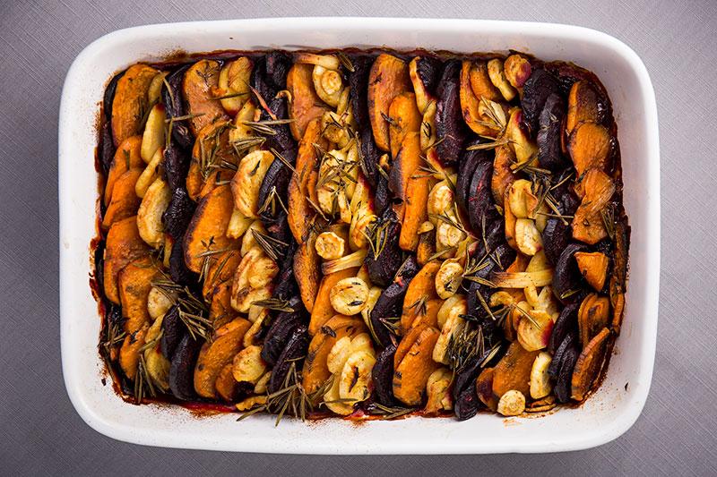 Slow roasted root vegetable tian