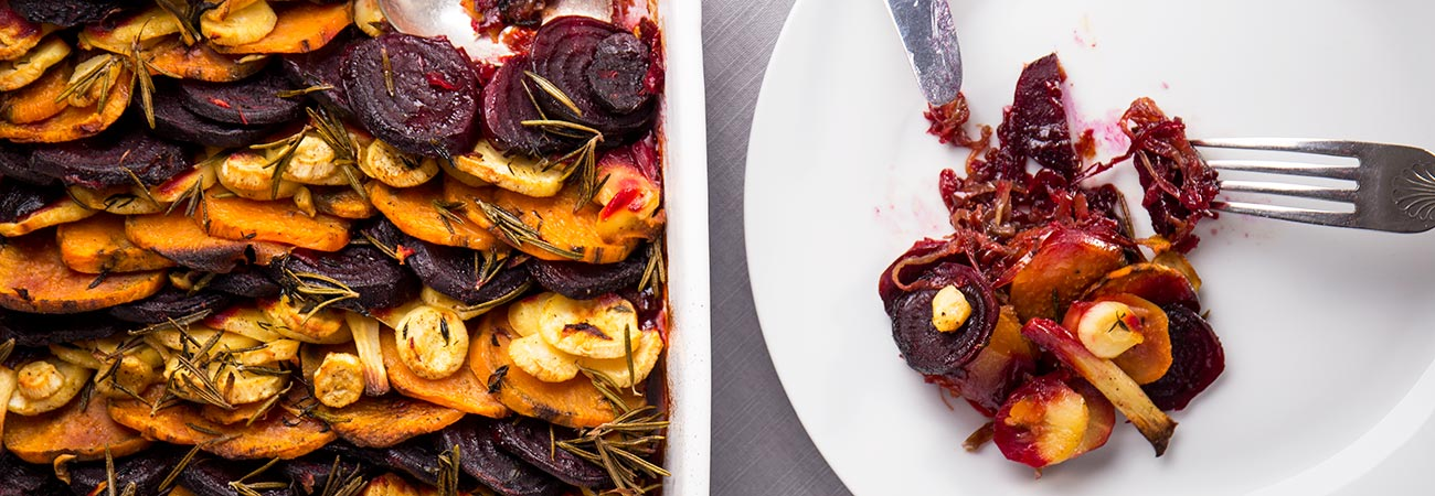 Slow roasted root vegetable tian