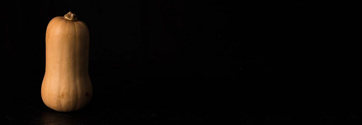 butternut squash black background