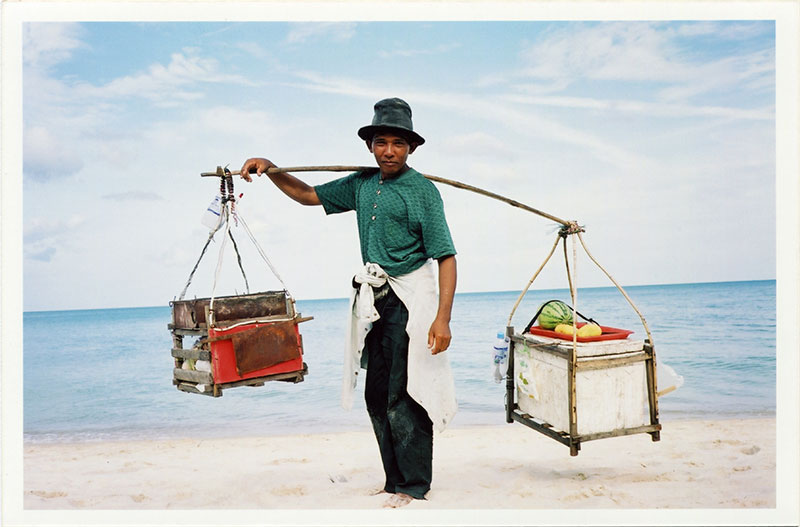 Thai beach trader, food vendor on Koh Samui