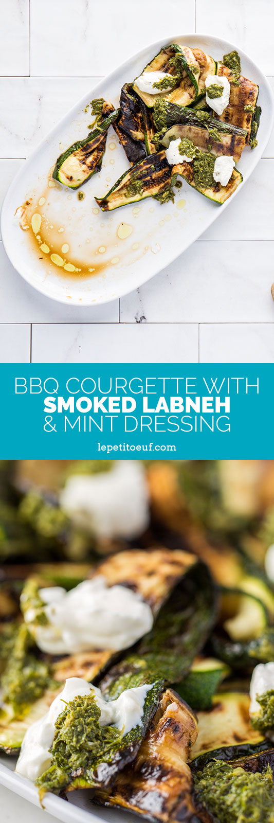 A bright and full flavoured summery vegetarian BBQ Courgette dish which uses full flavoured charred courgette slices topped with thick, creamy labneh and rich, tangy mint sauce. It's a dish to have both vegetarians and meat eaters drooling!
