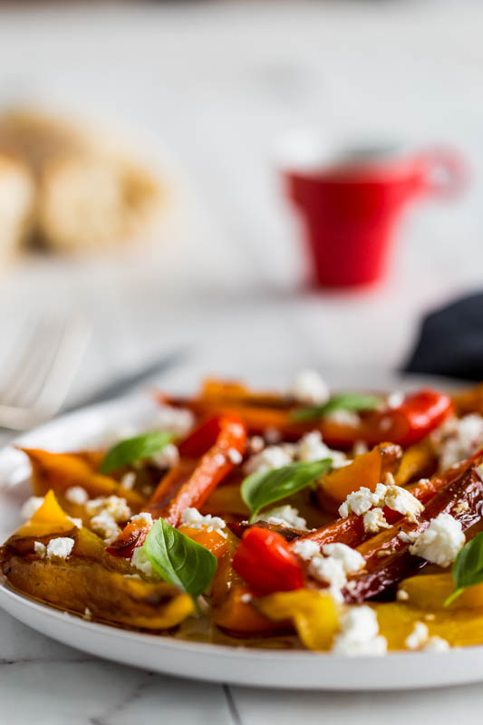 Balsamic roasted peppers with goat's cheese and basil make a beautifully summery side salad or vegetarian picnic dish, the vibrant colours and simple preparation make a star dish that requires very little input to create.