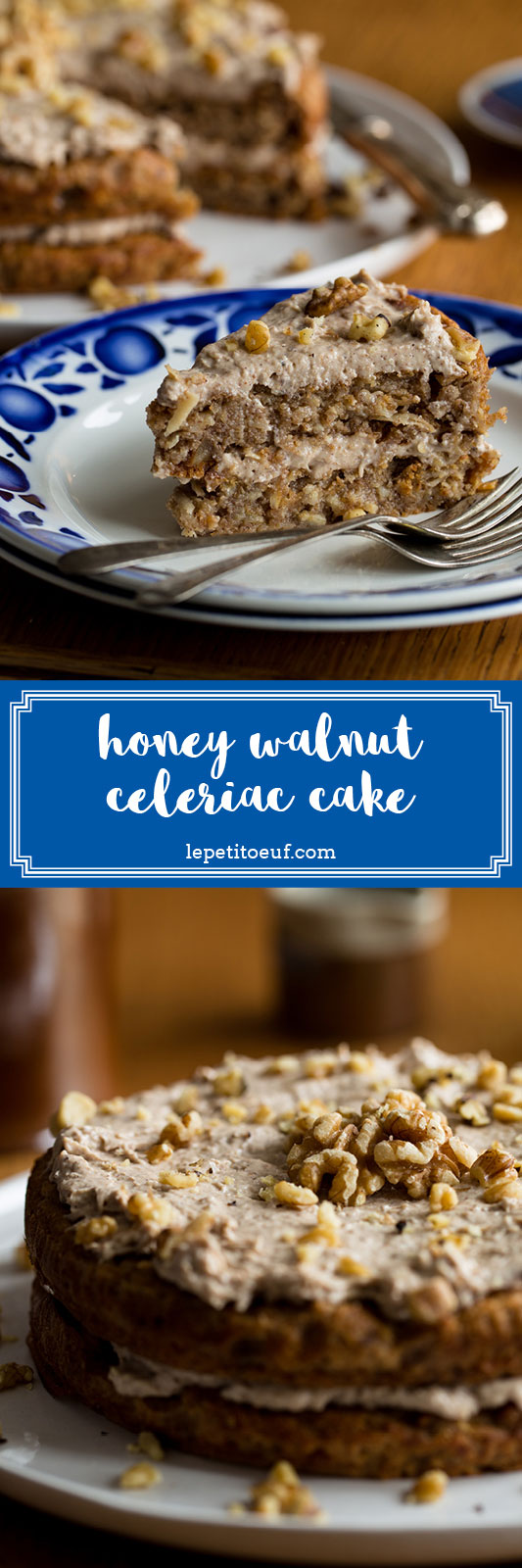 Honey and walnut celeriac cake made with spelt and rye flours, plus no refined sugars to create a healthy, hearty and wholesome cake with delightful overtones of celeriac and topped with a vegan frosting made from walnut butter! It's the healthiest, most filling cake you'll find this year!