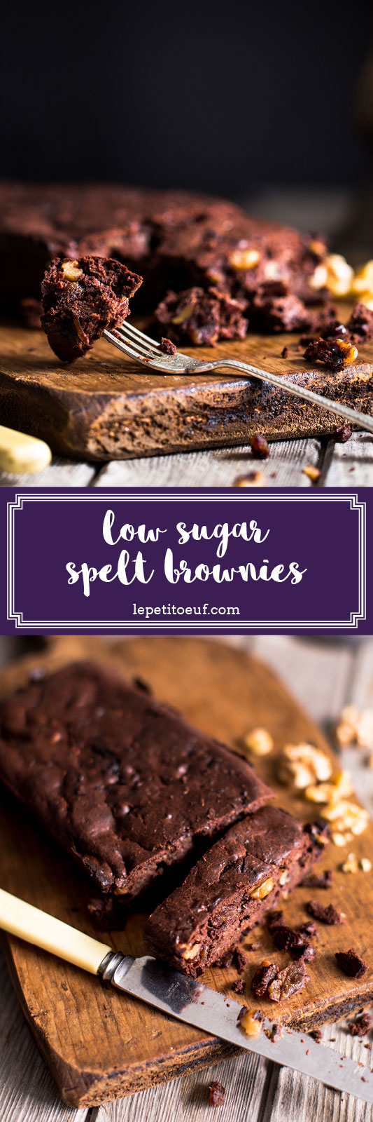 Low sugar dark chocolate spelt brownies made using dates to sweeten, providing a delicious rich brownie recipe with only a fraction of the sugar of most brownie recipes. These delicious brownies make a great treat if you're cutting out refined sugar or if you simply want to reduce your sugar intake without foregoing some delicious baked treats! Time to get baking!