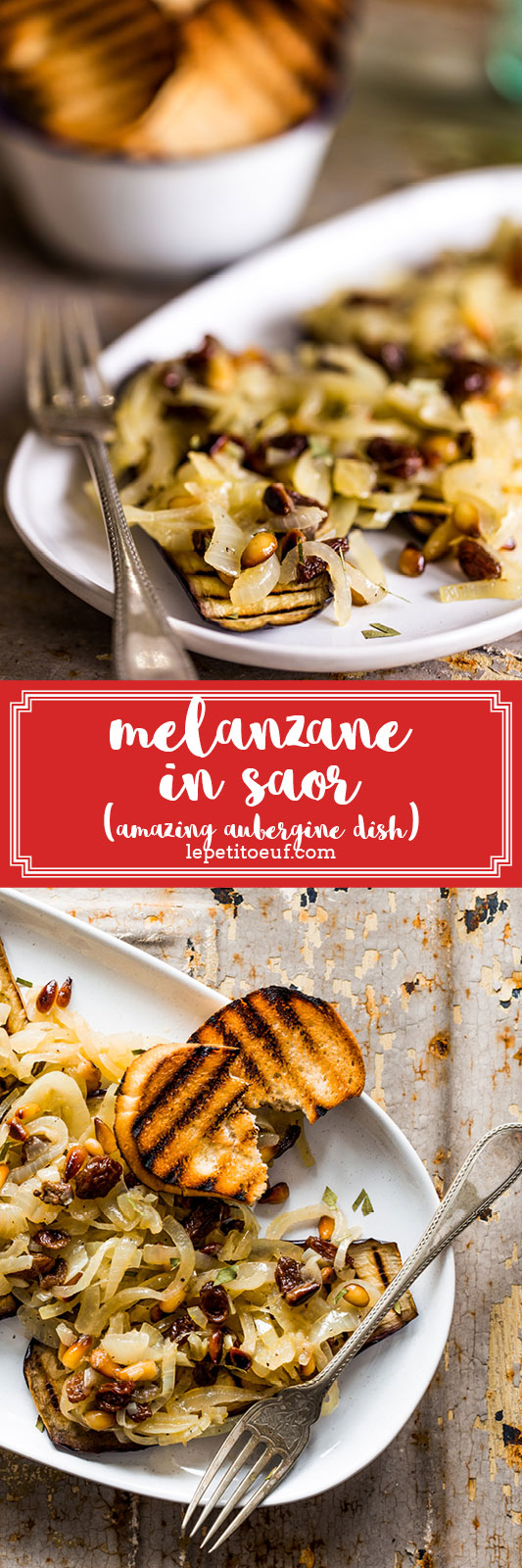 Melanzane in Saor is an amazing vegetarian and vegan aubergine (eggplant) dish in a sweet and slightly sour sauce, which is unique to Venice and follows a proud history of Italian food using love, respect and time to get the best of the ingredients. It's a serious make ahead dish, needing 2 days to mature but worth the wait for those fantastic flavours and perfect for buffet spreads or picnics.