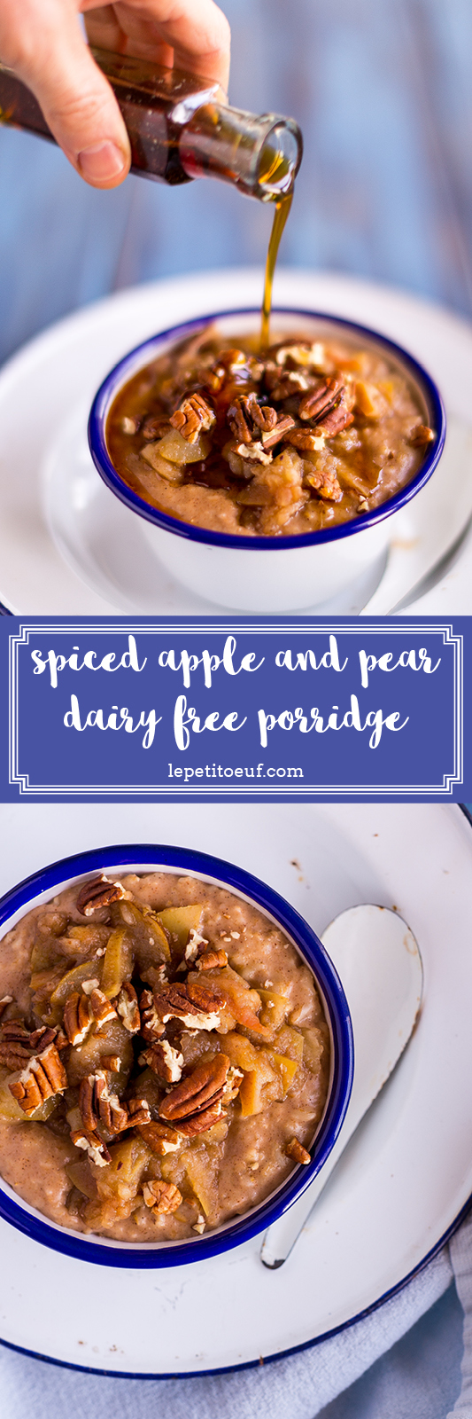 What's the best milk to make dairy free porridge with? I've tried them all, in this blog post I explain the findings, as well as the recipe for the thickest, creamiest, dairy free porridge made with jumbo oats and topped with beautifully spiced apples and pears for a breakfast that's gonna keep you going all day.